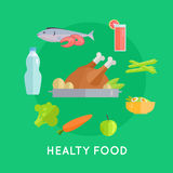 Healthy Food Vector Conceptual Illustration. Healthy food vector concept in flat style. Chicken, fish, carrot, apple, asparagus, beverage, broccoli, salad Royalty Free Stock Photos