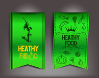Healthy food vector green labels with icons of products and young woman in a jump Stock Photos