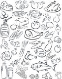 Healthy food. Vector illustration of healthy food collection in black and white Royalty Free Stock Photography
