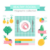 Healthy Food Vector Infographic. Clean Food Concept Flat Design Stock Photo