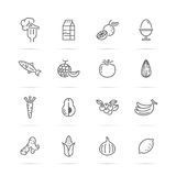 Healthy food vector line icons Stock Images