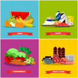Healthy food vector poster in flat style design. Different groups of products Royalty Free Stock Photos