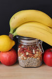 Only healthy food. Healthy vegan foods, fruits and seeds Royalty Free Stock Images