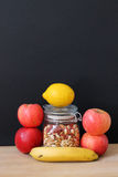 Only healthy food. Healthy vegan foods, fruits and seeds Royalty Free Stock Photo