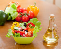 healthy food vegetable salad and bottle with oil Stock Photography