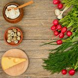 Healthy food vegetables, cheese, egg, sour cream on old wooden. Table. Top view Stock Photography