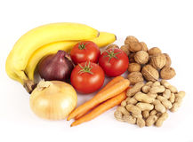 Healthy food, vegetables, fruit and nuts Royalty Free Stock Image