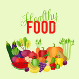 Healthy food with vegetables and fruits background. Vector illustration Royalty Free Stock Photography