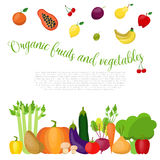 Healthy food with vegetables and fruits background. Vector illustration Royalty Free Stock Photo