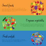 Healthy food with vegetables and fruits banners. Vector illustration Stock Photography