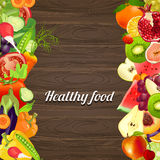 Healthy food. vegetables and fruits. wooden background Royalty Free Stock Photography