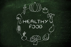 Healthy food, vegetables illustration Stock Image