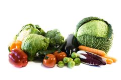 Healthy food vegetables isolated on white background, cut out stock photo