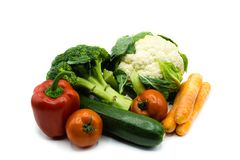 Healthy food vegetables isolated on white background, cut out royalty free stock photography