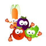 Healthy food vegetables for kids. Vector illustration of healthy food vegetables as comic cartoon characters for kids and children helping them eat healthy food stock illustration