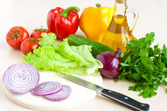 Healthy Food - Vegetables, Onion And Oil Stock Photos