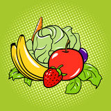 Healthy food vegetarian comic book style vector Stock Images
