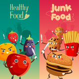 Healthy Food Versus Unhealthy Food Stock Images