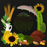 Healthy Food Vitamin E Banner. Vitamin E food sources. Healthy eating graphic concept with vector illustrations and copyspace. Useful for health magazines Stock Photo