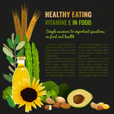 Healthy Food Vitamin E Banner. Vitamin E food sources. Healthy eating graphic concept with vector illustrations and copyspace. Useful for health magazines royalty free stock photography