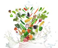 Healthy Food with water splash. On white background stock photography