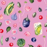 Healthy food watercolor pattern stock illustration