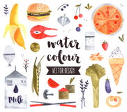 Healthy Food Watercolor Vector Objects Stock Photo