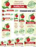 Healthy food web banners set Stock Photos