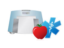 Healthy food and weight scale, illustration design Royalty Free Stock Image
