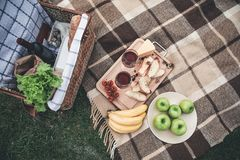 Healthy food and wineglasses on grass for romantic picnic royalty free stock photos