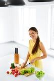 Healthy Food. Woman Cutting Vegetables. Salad, Food Preparation. Stock Photo