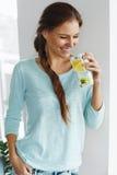 Healthy Food. Woman Drinking Lemon Detox Water. Healthy Eating. Royalty Free Stock Image