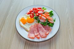 Healthy food on wood plate. Keto diet food concept. royalty free stock images