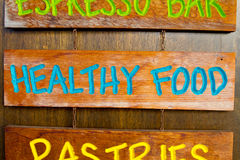 Healthy Food Wood Sign Royalty Free Stock Photography
