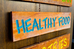 Healthy Food Wood Sign Royalty Free Stock Image