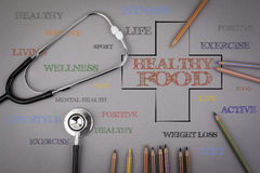 Healthy Food word cloud, health cross concept. Colored pencils a Stock Image