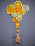 Healthy Foods And Medicine Concept. Bottle Of Vitamin C And Various Citrus Fruits. Citrus Fruits Sliced Lime,orange And Lemon On Stock Photography