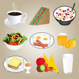 Healthy Foods and Breakfast Set Stock Photo