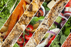 Healthy Foods Collage. Collage of healthy foods.  Vegetables, grains, salads Stock Photos