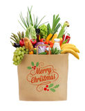 Healthy foods full package, with the inscription on the package Merry Christmas Stock Photos