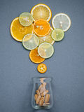 Healthy foods and medicine concept. Bottle of vitamin C and vari Royalty Free Stock Photography