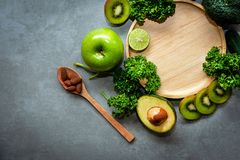 Healthy Foods. Organic and Fresh green vegetable for detox, diet and weight loss . royalty free stock image