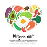 Healthy foods: vegetables, nuts, meat, fish. Heart shaped banner in cartoon style. Keto diet. Ketogenic nutrition royalty free illustration