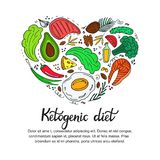 Healthy foods: vegetables, nuts, meat, fish. Heart shaped banner in doodle style. Keto diet. Ketogenic nutrition vector illustration