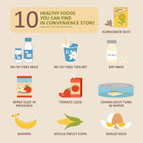 10 Healthy foods. You can find in convenience store Stock Photography