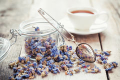 Healthy forget me not tea in glass jar, strainer and tea cup Stock Photo