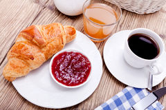 Healthy french breakfast coffee croissant Stock Photography