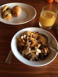 Healthy French breakfast, orange juice, croissant and cereals. For this balanced food Stock Photo