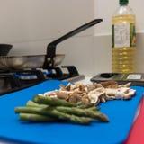 Healthy fresh asparagus spears and mushrooms Stock Photos