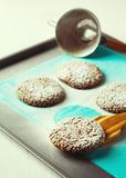 Healthy Fresh Baked Cookies on Baking Tray Royalty Free Stock Images
